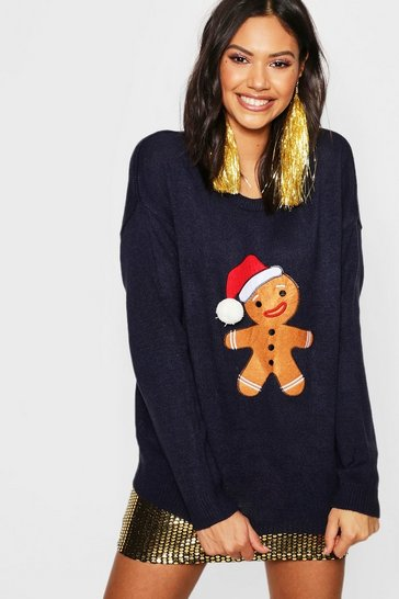 Womens Navy Gingerbread Man Applique Jumper With PomPom