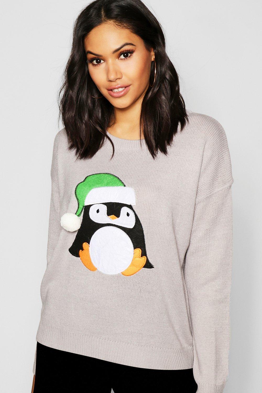 Penguin Applique Jumper With Pom Pom