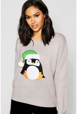 Womens Grey Penguin Applique Sweater With Pom Pom