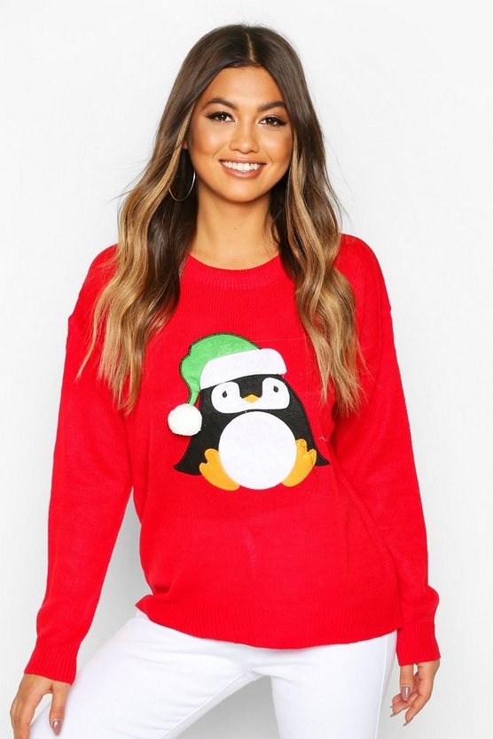Penguin Applique With Pom Pom Christmas Jumper