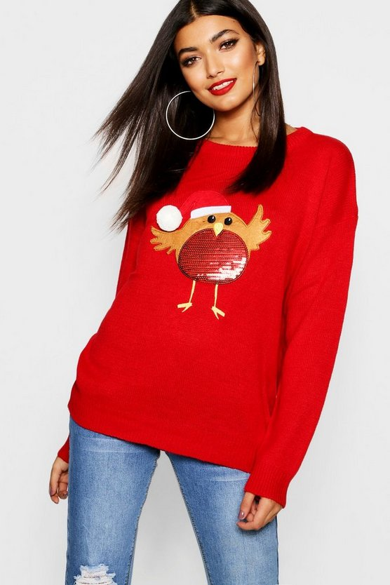 Womens Scarlet Applique Jumper With PomPom And Sequin