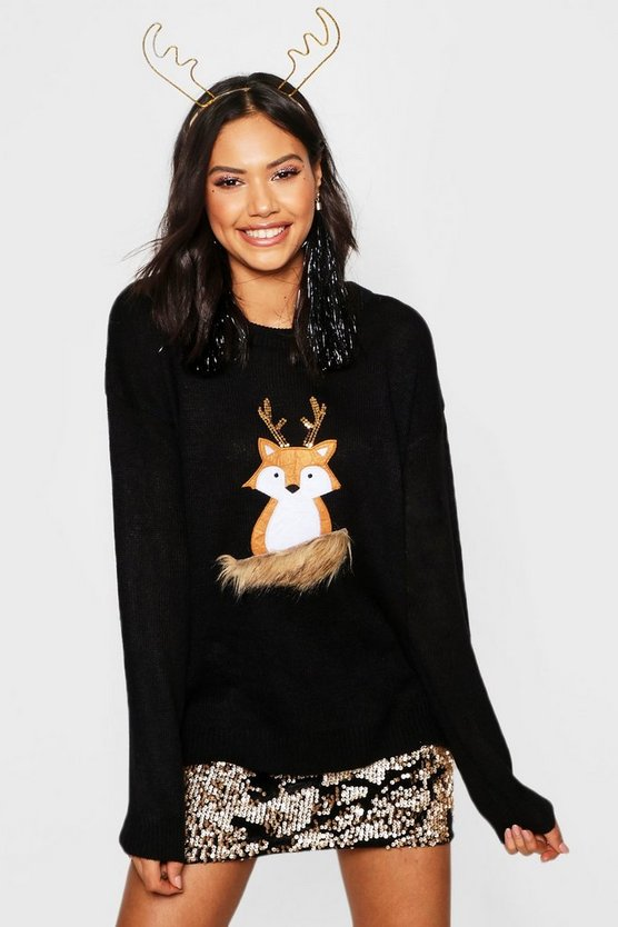 Womens Black Fox Applique Jumper With Faux Fur And Sequin