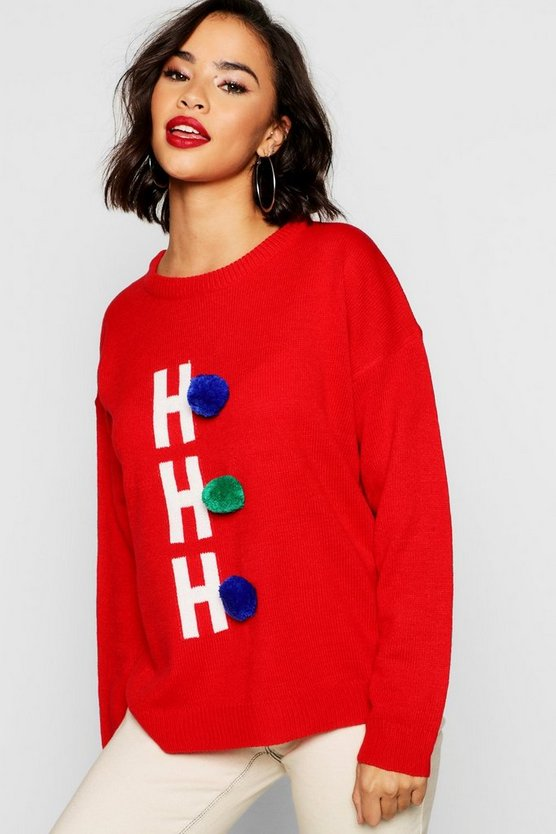 HoHoHo Christmas Jumper With Pom Pom