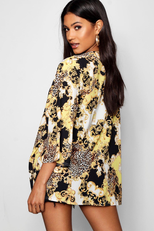 cadena estampado de leopardo midi crema y Kimono con xqCRwYtEWa