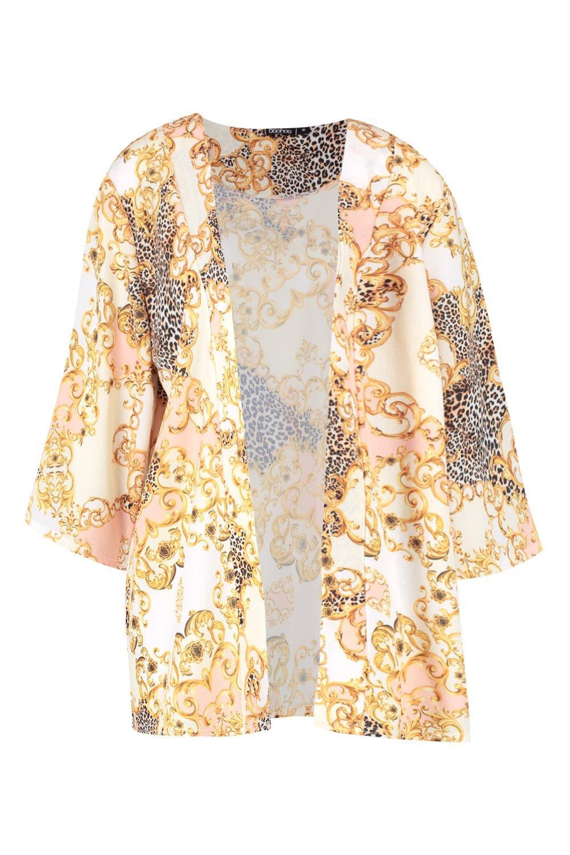 Kimono estampado y leopardo crema con de midi cadena r8wPU8