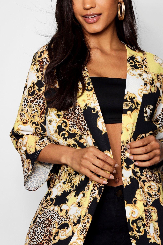 Kimono de crema cadena midi y leopardo estampado con rpwArHUq