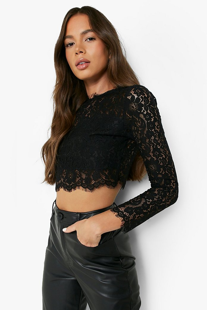 details for discount sale incredible prices Premium Lace Crop Top | boohoo