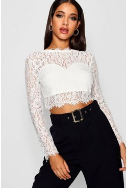 Womens White Premium Lace Crop Top