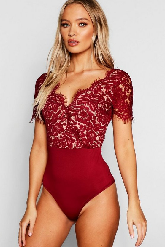 Womens Wine Premium Eyelash Lace Bodysuit