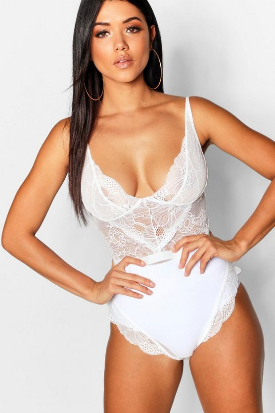 Womens White Premium Lace Bodysuit