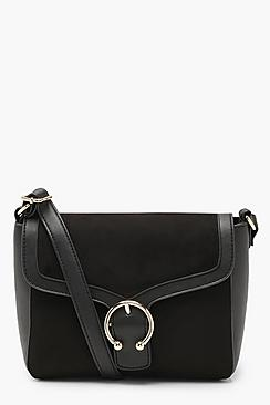 Metal Ring Detail Suedette Cross Body