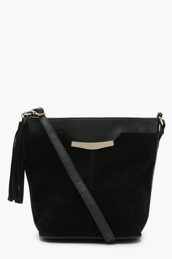 Suedette Tassel Bucket Bag