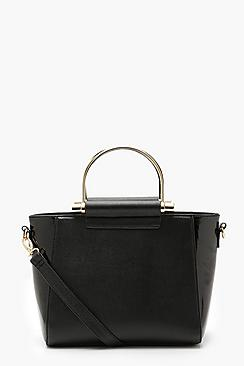 Metal Ring Handle Structured Tote Bag