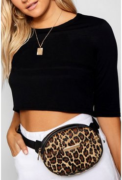 Womens Natural Leopard Print Bumbag