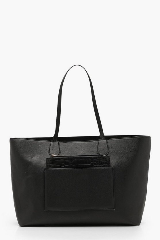 Structured Faux Croc Panel Tote