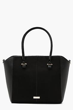 Structured Suedette & Pu Tote Bag