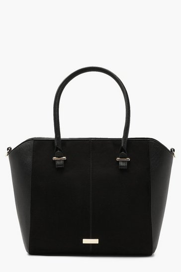 Womens Black Structured Suedette & PU Tote Bag