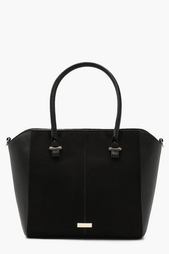 Structured Suedette & Pu Tote Bag