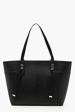 Tab Detail Structured Crosshatch Tote