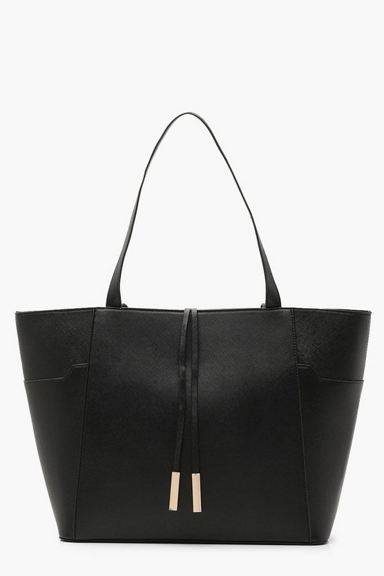 Womens Black Structured Crosshatch Tote Bag