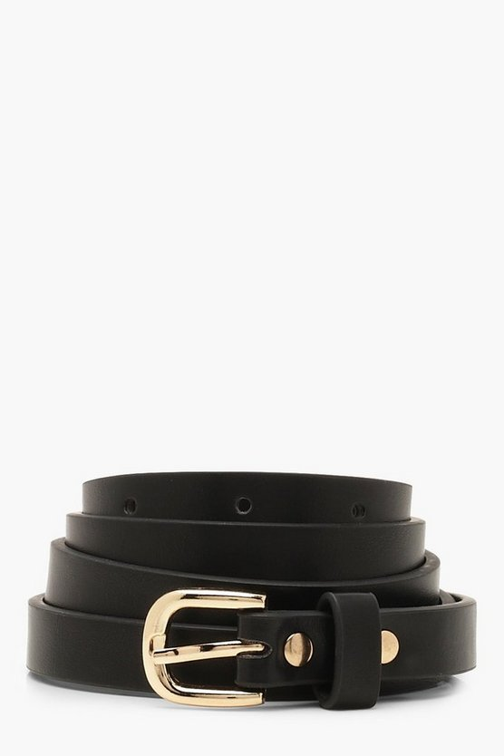 Womens Black Skinny PU Belt