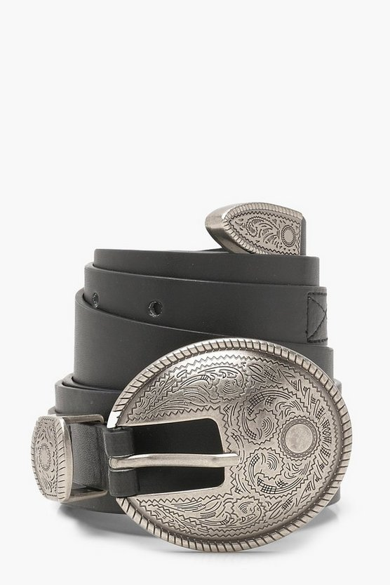 Womens Black Western Buckle Waist Belt