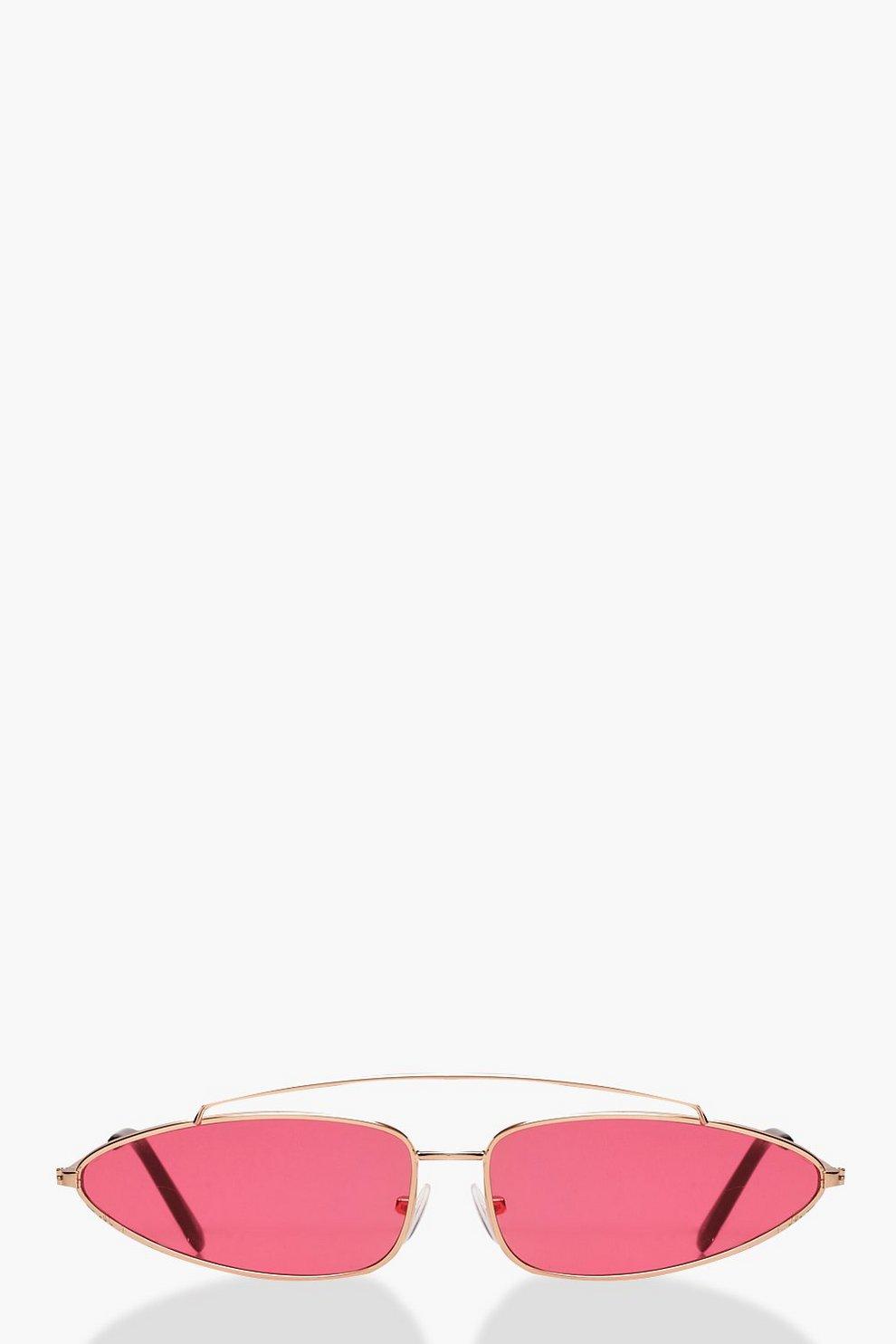 03d434a152 Gafas de sol de aviador de marco delgado con lentes color rojo | Boohoo