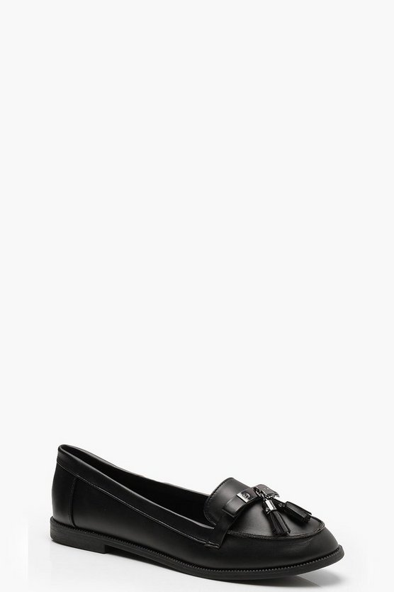 Womens Black Tassel Loafers
