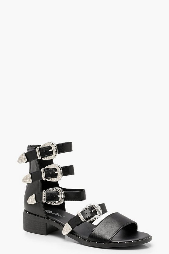 Buckle Multi Strap Sandals