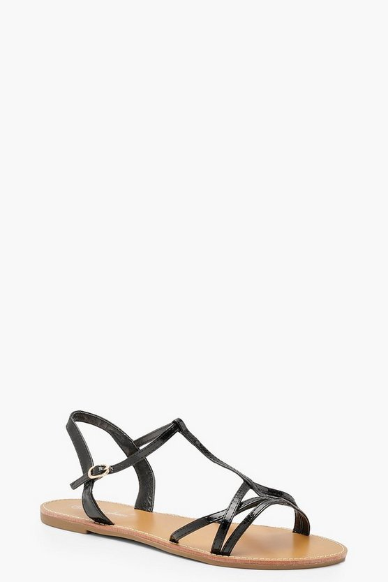 Womens Black Multi Strap Sandals