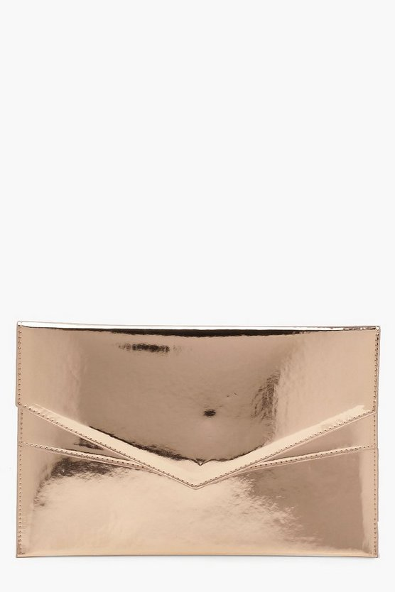 Rose Amy Double Layer Holographic Envelope Clutch