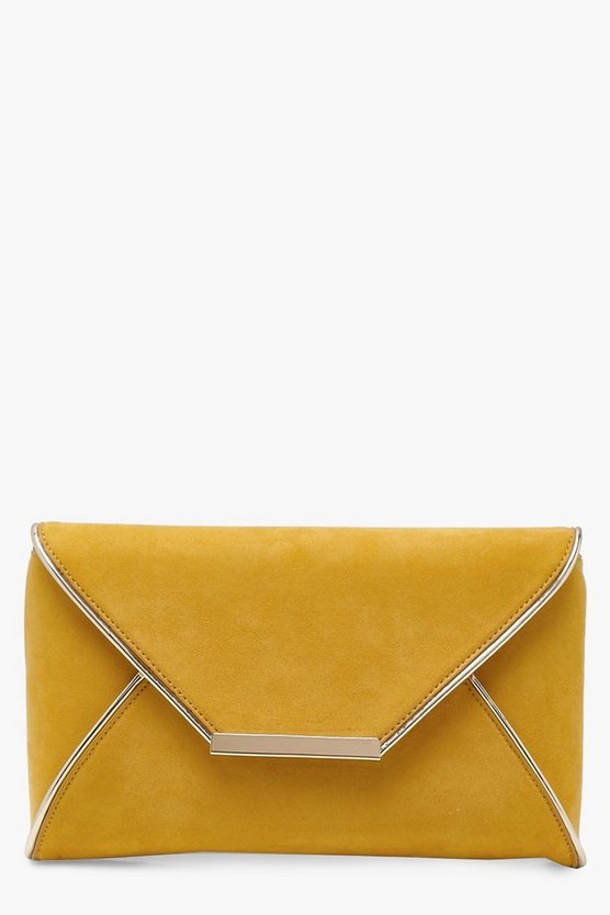 Maya Metallic Piping Envelope Clutch