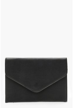 Womens Black Ella Envelope Clutch