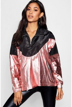 Womens Rose gold Metallic Panelled Windbreaker