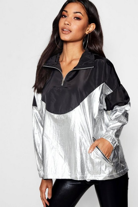 Womens Silver Metallic Panelled Windbreaker