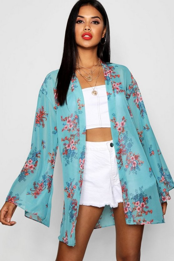 Womens Teal Floral Wide Sleeve Kimono