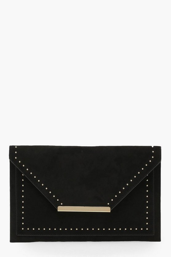 Womens Black Sara Suedette & Stud Envelope Clutch
