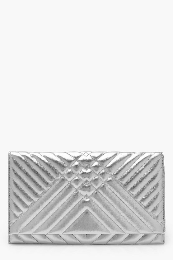 Mia Metallic Mixed Quilt Clutch