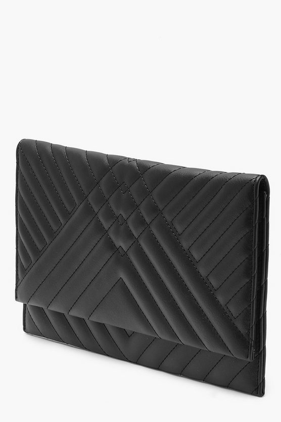 Maya Mixed Quilt Clutch Maya Mixed Quilt Clutch by Boohoo