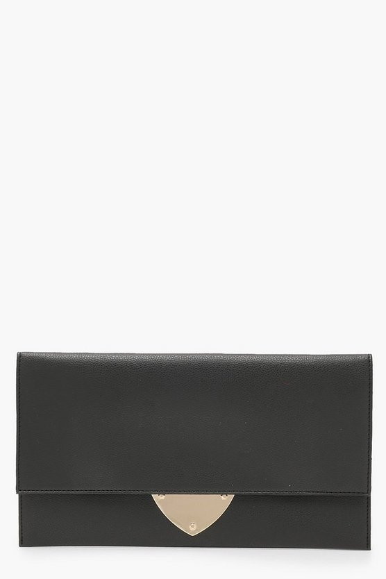 Womens Black Mia Metal Detail Clutch