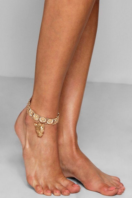 Lucy Cheetah Charm & Coin Statement Anklet