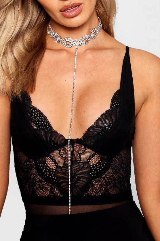 Katy Statement Diamante Plunge Choker