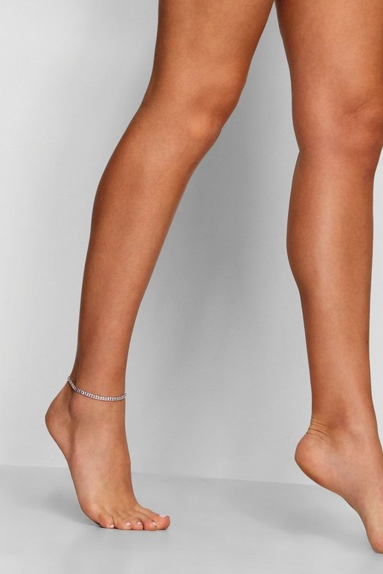 Diamante Silver Anklet