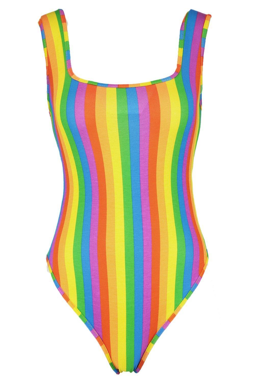 de arcoiris escote multicolor cuadrado con Body tq87wAHA