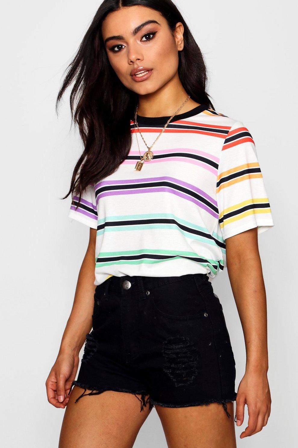 3081c98566dc5 Layla Rainbow Stripe T-Shirt | Boohoo