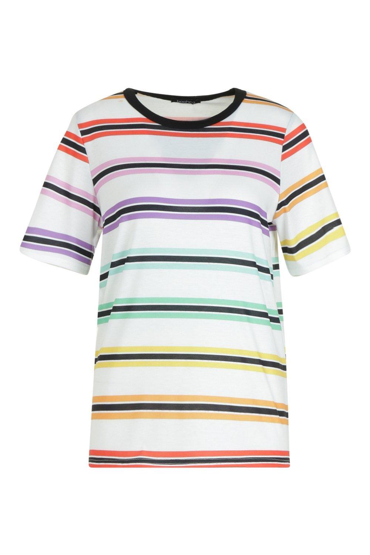 de arcoiris Layla Camiseta rayas blanco a qS1xBE4x
