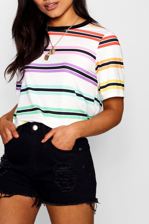 arcoiris rayas a Layla Camiseta de blanco 1HAx1wq