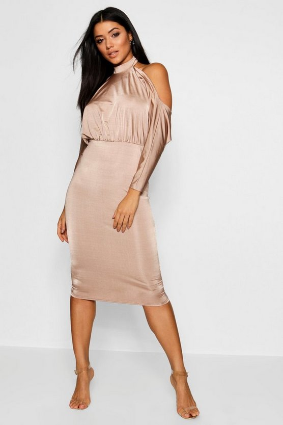 Batwing Open Back Bodycon Midi Dress