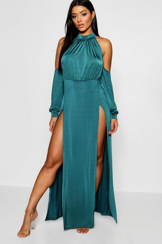 High Neck Cold Shoulder Split Maxi Dress