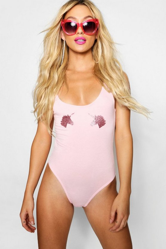 Womens Pink Glitter Unicorn Bodysuit